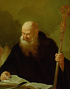 Staff Paintings - St. Benedict by Giambattista Piazzetta