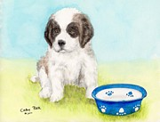 Saint Art - St Bernard Pup Puppy Dog Food Bowl Animal Art by Cathy Peek