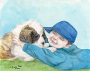 Little Boy Framed Prints - St Bernard Puppy Hugs Little Boy Animal Art Framed Print by Cathy Peek