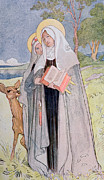 Halo Framed Prints - St Bridget of Sweden Framed Print by Carl Larsson