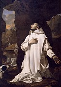 Religious Art Painting Posters - St Bruno praying in desert Poster by Nicolas Mignard