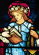 Stained Glass Glass Art Metal Prints - St Catherine of Alexandria in Stained Glass Metal Print by Philip Ralley