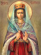 Bible Digital Art Posters - St. Catherine Poster by Zorina Baldescu