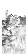 Built Drawings Prints - St Catherines in Allen Park CO Print by David Morton