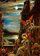 Religion Paintings - St Cecilia The Angels Announcing her Coming Martyrdom by Gustave Moreau