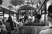 Street Photography Digital Art - St. Charles Ave. Streetcar Ride New Orleans black and whtie by Kathleen K Parker