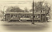 Urban Life Digital Art - St. Charles Ave. Streetcar sepia by Steve Harrington