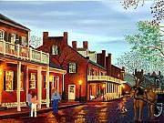 Horse And Buggy Originals - St Charles Cityscape II Impressionistic Oil Painting by Daniel Fishback