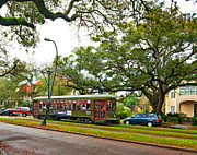 Rainy Day Digital Art Posters - St Charles Streetcar paint Poster by Steve Harrington