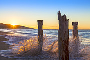 Waves Splash Photos - St Clair Beach Dunedin at Sunrise by Colin and Linda McKie
