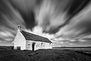 Monochrome Prints - St Cwyfans Church Print by David Bowman