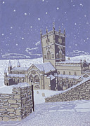Snowy Night Painting Framed Prints - St David s Cathedral in the Snow Framed Print by Huw S Parsons