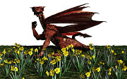 Saint David Posters - St Davids Day - Welsh Dragon Poster by Fairy Fantasies