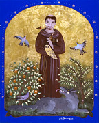 Reverse Art Painting Posters - St. Francis and the Wolf Poster by Sue Betanzos