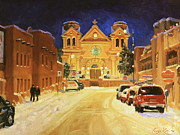 Winter Landscape Painting Originals - St. Francis Cathedral Basilica  by Gary Kim