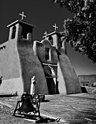 Taos Metal Prints - St Francis in black and white Metal Print by Charles Muhle
