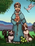Folk Art  Paintings - St. Francis Libertys Blessing by Victoria De Almeida