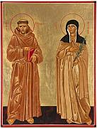 Religious Icons Paintings - St. Francis of Assisi and St. Clare by Joseph Malham