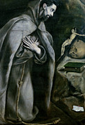Prayer Prints - St Francis of Assisi Print by El Greco Domenico Theotocopuli