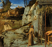 St Francis Of Assisi In The Desert Print by Giovanni Bellini