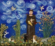 Reverse Art Painting Posters - St. Francis Starry Night Poster by Sue Betanzos