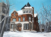Pointe St. Charles Paintings - St Gabriel Rectory Pointe St Charles by Reb Frost