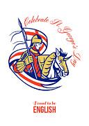 St. George Day Celebration Proud To Be English Retro Poster Print by Aloysius Patrimonio