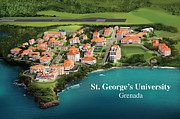 Birdseye Drawings Acrylic Prints - St. Georges University Acrylic Print by Rhett and Sherry  Erb
