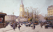 Vehicles Painting Framed Prints - St. Germaine de Pres Framed Print by Eugene Galien-Laloue