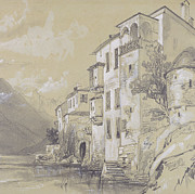 Rocks Drawings Prints - St Giulio Orta Print by Edward Lear