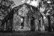 Ladys Island Framed Prints - St Helena Chapel of Ease  BW 3 Framed Print by Steven  Taylor