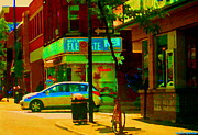 Hot Dog Joints Prints - St Henri  Montreal Street Scene Corner Flower Shop Boutique Fleuriste Art Carole Spandau Print by Carole Spandau