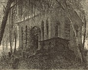 Cemetery Drawings Posters - St. James Church or Goose Creek Church and Cemetery 1872 Engraving Poster by Antique Engravings