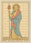 Religious Drawings Metal Prints - St James the Great Metal Print by English School