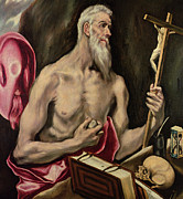 Hourglass Framed Prints - St Jerome Framed Print by El Greco Domenico Theotocopuli