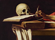 Saint  Paintings - St. Jerome Writing by Caravaggio