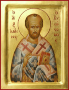 Egg Tempera Prints - St John Chrysostom Print by Julia Bridget Hayes