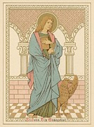 Red Robe Drawings Posters - St John the Evangelist Poster by English School