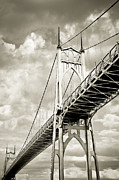 One Point Perspective Framed Prints - St Johns Bridge Framed Print by Marius Sipa