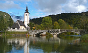 Lake Bohinj Framed Prints - St Johns Church - Lake Bohinj Framed Print by Phil Banks
