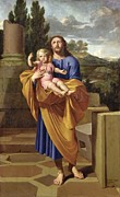Saint Joseph Posters - St. Joseph Carrying the Infant Jesus Poster by Pierre  Letellier