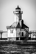St. Joseph Lighthouse Black And White Picture  Print by Paul Velgos