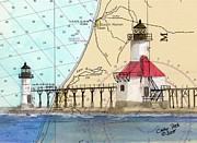 Saint Joseph Posters - St Joseph Lighthouse MI Nautical Chart Map Art Cathy Peek Poster by Cathy Peek