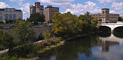 River Scenes Photo Framed Prints - St. Joseph River Panorama Framed Print by Anna Lisa Yoder