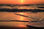 Sandy Beaches Prints - St. Joseph Sunset Swirls Print by Adam Jewell