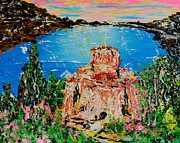 Orthodox  Painting Originals - St Jovan on Lake Ohrid by Alys Caviness-Gober