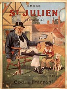 Smoking Drawings Posters - St Julien 1890s Uk Cigarettes Smoking Poster by The Advertising Archives