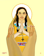 Rosary Framed Prints - St Kateri Tekakwitha In Prayer With Rosary Framed Print by Zeljko Bilandzic