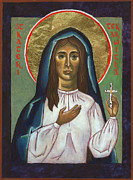 Egg Tempera Art - St Kateri Tekakwitha by Jennifer Richard-Morrow