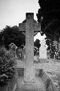 Historical Sight Prints - St Kevins Cross high celtic cross grave stone Glendalough monastery county wicklow Republic of Ireland Print by Joe Fox